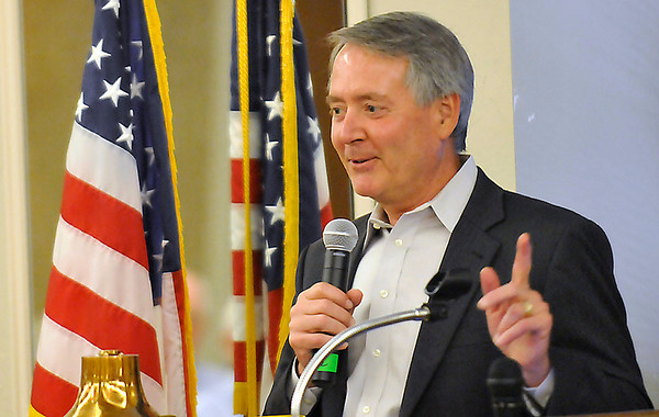 Oklahoma director of Career Tech, Dr, Robert Sommers, gestures as he speaks to the Rotary Club Monday. (Staff Photo by BILLY HEFTON)