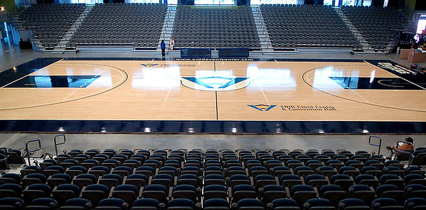 The assembled basketball floor at the Enid Event Center Monday. The floor consist of 200 sections and weighs 44,000 pounds. (Staff Photo by BILLY HEFTON)
