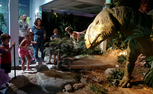 Guests react as a Deinonychus (back center) and Tenontosaurus (right) come to life during a tour of the Red Dirt Dinos exhibit at Leonardo's Children's Museum Friday, July 25, 2014. The Oklahoma Museum Network traveling exhibit is funded by the Donald W. Reynolds Foundation. (Staff Photo by BONNIE VCULEK)