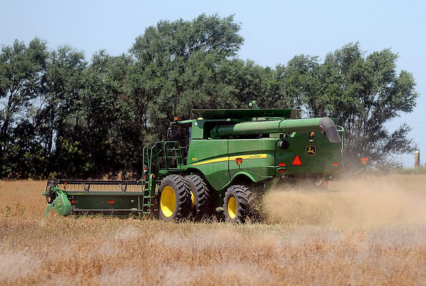 As temperatures reach the upper 90s, a harvester combines his crop along S. Cleveland Monday, July 7, 2014. (Staff Photo by BONNIE VCULEK)