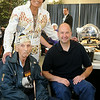 Elvis, performed by Marshall Matthews, pauses for a portrait with Arthur Dunn, a Pearl Harbor Survivor from Caldwell, Kan. and Rep. John Enns during a VIP welcoming at Enid Event Center and Convention Hall Saturday, July 12, 2014. (Staff Photo by BONNIE VCULEK)