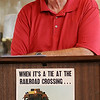 """Enid Mayor Bill Shewey recalls the children's book, """"The Little Engine That Could"""" as he acknowledges the Woodring Wall of Honor and Veterans Park board of directors during donation presentations to the new education center at the Railroad Museum of Oklahoma Wednesday, July 9, 2014. (Staff Photo by BONNIE VCULEK)"""