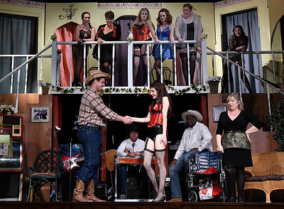 "Cast members rehearse the Gaslight Theater production ""Best Little Whorehouse in Texas"" Wednesday July 19, 2017. (Billy Hefton / Enid News & Eagle)"