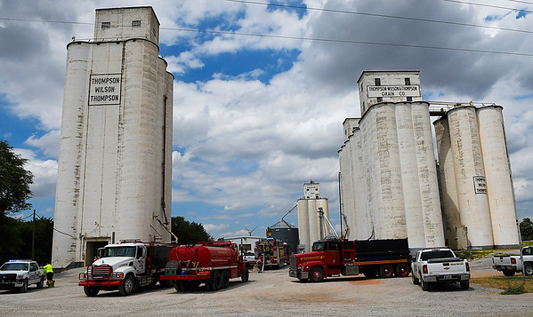 Fire units from Hunter and Kremlin responded to a report of a smothering fire at the grain elevators in Hunter Friday July 28, 2017. (Billy Hefton / Enid News & Eagle)