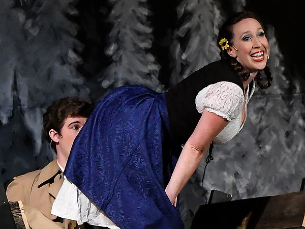 Laura Lee McClelland as Inga and Alex Ewald as Dr. Frederick Frankenstein rehearse the Gaslight Theatre production of Young Frankenstein Wednesday July 18, 2018. (Billy Hefton / Enid News & Eagle)