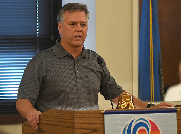 Mike Douglas, from OG&E, talks to the Noon Rotary Club July 16, 2018 about being part of the team that traveled to Puerto Rico to help restore electricity following Hurricane Maria. (Billy Hefton / Enid News & Eagle)