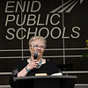 Sondra Hays says a few words during a retirement reception in her honor Tuesday July 17, 2018 at the Enid Public School Administrative Center. Hays is retiring after 46 years with the Enid schools system. (Billy Hefton / Enid News & Eagle)
