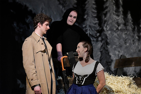 Laura Lee McClelland as Inga, Alex Ewald as Dr. Frederick Frankenstein and Daniel Johnson as Igor rehearse the Gaslight Theatre production of Young Frankenstein Wednesday July 18, 2018. (Billy Hefton / Enid News & Eagle)