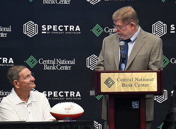 Craig Tirey, majority owner, thanks Enid Mayor Bill Shewey during a press conference announcing the new Enid franchise Tuesday July 24, 2018 at the Central National Bank Center. (Billy Hefton / Enid News & Eagle)