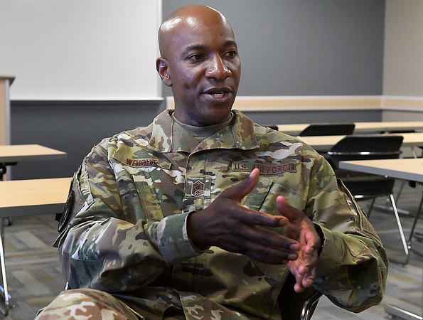 Chief Master Sergeant of the Air Force Kaleth O. Wright gestures during an interview at Vance Air Force Base Monday, July 29, 2019. (Billy Hefton / Enid News & Eagle)