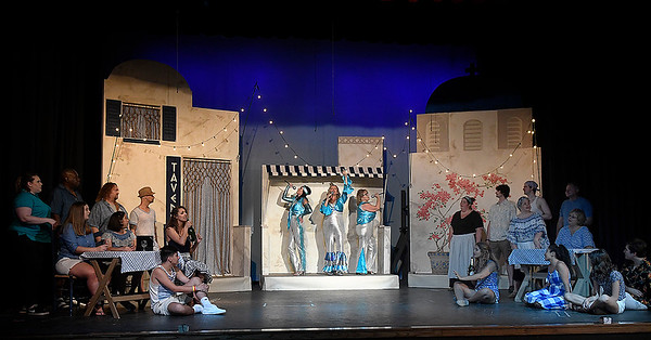 """The cast of the Gaslight Theater production of """"Mamma Mia"""" rehearse Wednesday, July 10, 2019. (Billy Hefton / Enid News & Eagle)"""