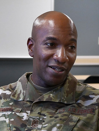 Chief Master Sergeant of the Air Force Kaleth O. Wright during an interview at Vance Air Force Base Monday, July 29, 2019. (Billy Hefton / Enid News & Eagle)