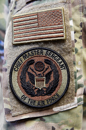 Patches on the sleeve of Chief Master Sergeant of the Air Force Kaleth O. Wright during an interview at Vance Air Force Base Monday, July 29, 2019. (Billy Hefton / Enid News & Eagle)