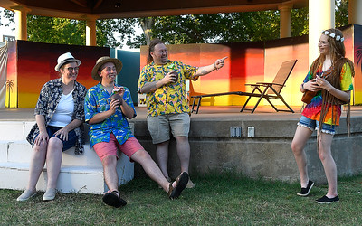 "Cast members (left to right) Lori Coleman, Alex Johnson, Matthew Houston and Addi Betz of Gaslight Theatre's Shakespeare in the Park production of ""Twelfth Night"" Wednesday, July 8, 2020 at Government Springs Park. (Billy Hefton / Enid News & Eagle)"