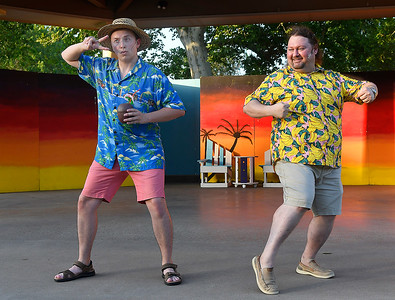 "Cast members (left to right) Alex Johnson and Matthew Houston of Gaslight Theatre's Shakespeare in the Park production of ""Twelfth Night"" Wednesday, July 8, 2020 at Government Springs Park. (Billy Hefton / Enid News & Eagle)"