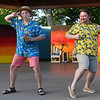 """Cast members (left to right) Alex Johnson and Matthew Houston of Gaslight Theatre's Shakespeare in the Park production of """"Twelfth Night"""" Wednesday, July 8, 2020 at Government Springs Park. (Billy Hefton / Enid News & Eagle)"""