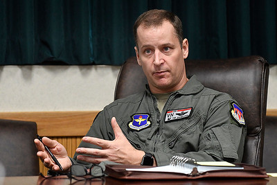 Col. Tim Danielson, new commander of the 71st Flying Training Wing at Vance Air Force Base,  during an interview Monday, July 27, 2020. (Billy Hefton / Enid News & Eagle)