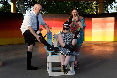 "Cast members (left to right) Chris McDaniel, Madison Wilson and Tammy Wilson of Gaslight Theatre's Shakespeare in the Park production of ""Twelfth Night"" Wednesday, July 8, 2020 at Government Springs Park. (Billy Hefton / Enid News & Eagle)"