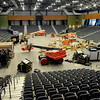Final preparations are being made to the main floor of the Enid Event Center Monday. A ribbon cutting is scheduled for Wednesday. (Staff Photo by BILLY HEFTON)