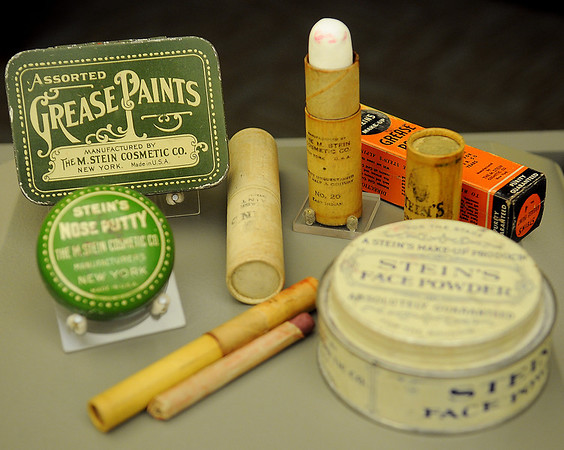 An assortment of grease paints used by circus clowns is part of the temporary display at the Cherokee Strip Regional Heritage Center. (Staff Photo by BONNIE VCULEK)