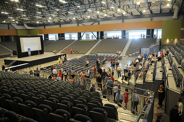 Dignitaries and guests enter the Enid Event Center during the grand opening Wednesday, June 12, 2013. (Staff Photo by BONNIE VCULEK)
