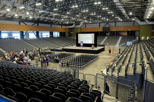 Dignitaries and guests enter the Enid Event Center arena during the grand opening ceremony Wednesday, June 12, 2013. (Staff Photo by BONNIE VCULEK)