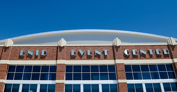 The name of the Enid Event Center was added this week as the grand opening rapidly approaches. (Staff Photo by BILLY HEFTON)