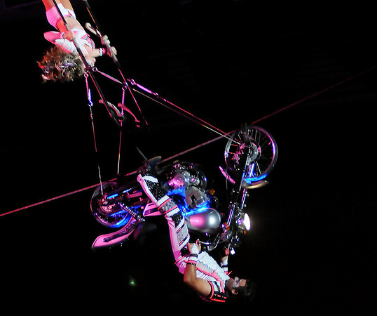 The Espana family performs a high wire spin during Cirque Musica at the Enid Event Center Thursday, June 27, 2013. (Staff Photo by BONNIE VCULEK)