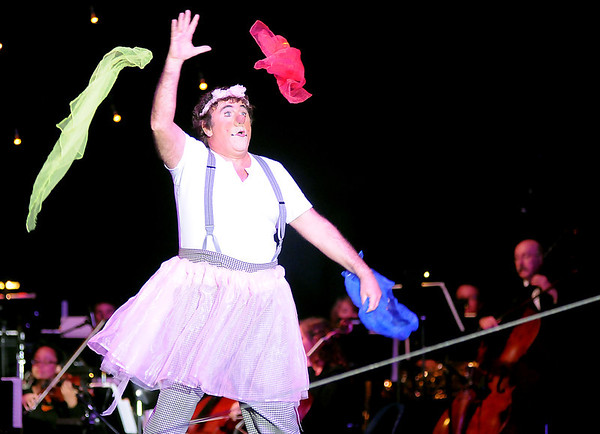David Larible, the clown of clowns, performs a ballet during Cirque Musica at the Enid Event Center Thursday, June 27, 2013. (Staff Photo by BONNIE VCULEK)