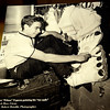 """Javier """"Peluza"""" Esparza paints the toe nails on his oversize shoes used during his performances with the Polark Bros. Circus in 1962. (Staff Photo by BONNIE VCULEK)"""