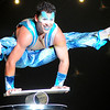 Simon Aristoff balances above a small cylinder during Cirque Musica at the Enid Event Center Thursday, June 27, 2013. (Staff Photo by BONNIE VCULEK)