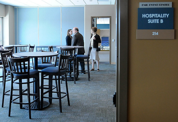 Guests tour on of the hospitality suites inside the Enid Event Center during the grand opening Wednesday, June 12, 2013. (Staff Photo by BONNIE VCULEK)