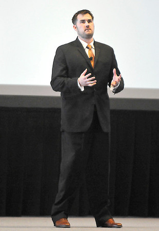 Marcus Luttrell talks about his experiences as a Navy Seal Thursday at the Enid Event Center. (Staff Photo by BILLY HEFTON)