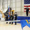 The Vance Air Force Base Silver Talons post the Colors during the National Anthem by Maj. Manuela Peters at the 71st Flying Training Wing Change of Command Wednesday, June 18, 2014. (Staff Photo by BONNIE VCULEK)