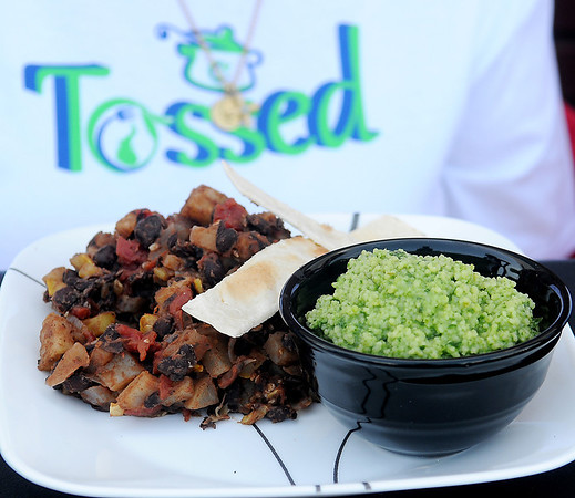 "The vegetarian dish prepared by Kathy Reihm won the first ""Tossed"" competition Saturday, June 21, 2014. (Staff Photo by BONNIE VCULEK)"