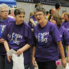 Cancer survivors take a victory lap inside the Chisholm Trail Expo Center during Relay for Life Friday, June 6, 2014. (Staff Photo by BONNIE VCULEK)