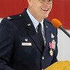 Col. Darren V. James makes his final remarks as commander of the 71st Flying Training Wing at the Vance Air Force Base Change of Command ceremony Wednesday, June 18 2014. (Staff Photo by BONNIE VCULEK)