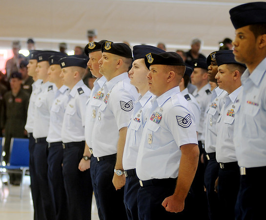 Vance Air Force Base troops stand at attention during the 71st Flying Training Wing Change of Command Wednesday, June 18, 2014. (Staff Photo by BONNIE VCULEK)