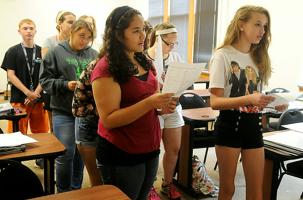 Upward Bound underclassmen participate in a foreign language game in Rachael Lawler's class at Northern Oklahoma College-Enid Tuesday, June 24, 2041. (Staff Photo by BONNIE VCULEK)