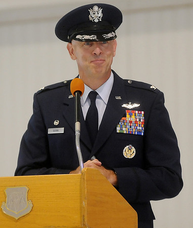 Col. Clark J. Quinn assumes command of the 71st Flying Training Wing at Vance Air Force Base during a change of command ceremony Wednesday, June 18, 2014. (Staff Photo by BONNIE VCULEK)