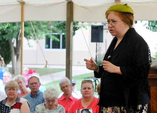 Sally Drucker portrays Emma Goldman during Summer Chautauqua Wednesday at the Cherokee Strip Regional Heritage Center. (Staff Photo by BILLY HEFTON)