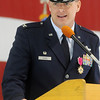Col. Darren V. James addresses Enid, Okla. community leaders during his final remarks as commander of the 71st Flying Training Wing at the Vance Air Force Base Change of Command ceremony Wednesday, June 18 2014. (Staff Photo by BONNIE VCULEK)