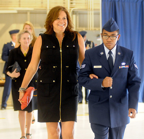 Melissa James, wife of Col. Darren V. James, Commander of the 71st Flying Training Wing, arrives for the Change of Command Wednesday, June 18, 2014. (Staff Photo by BONNIE VCULEK)