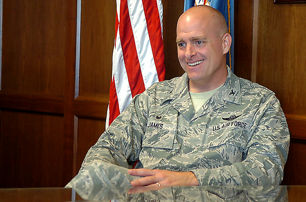 Col. James, Vance Air Force Bae Wing Commander, smiles during an interview before a change of command later this month. (Staff Photo by BILLY HEFTON)