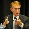 Congressman James Lankford answers a question during a GOP debate Friday at NWOSU Enid. (Staff Photo by BILLY HEFTON)
