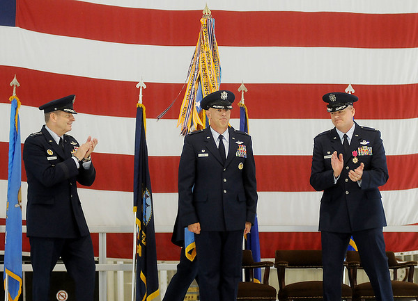 General Robin Rand, Col. Clark J. Quinn and Col. Darren V. James appear together during the 71st Flying Training Wing Change of Command Wednesday, June 18, 2014 at Vance Air Force Base. Col. Quinn assumes command after Col. James 24-month command at the base. (Staff Photo by BONNIE VCULEK)