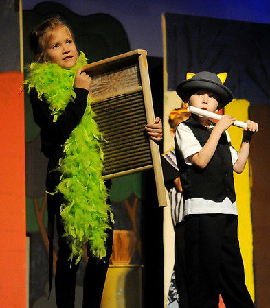 """Lucia Groendyke and Asher Young, portray alley cats, as they rehearse for Gaslight Theatre's drama camp production of """"Aristocats"""" Wednesday, June 18, 2014. (Staff Photo by BONNIE VCULEK)"""