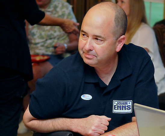 John Enns during his Oklahoma House Dist. 41 watch party Tuesday. (Staff Photo by BILLY HEFTON)