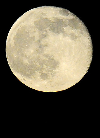 """A """"Honey"""" moon, a nearly full moon with a slight golden tint, appears in the sky south of Enid Friday, June 13, 2014. This is the first time since Oct. 13, 2000, that a full moon has occurred on a Friday the 13th of any month, and the last time it will happen until Oct. 13, 2049. (Staff Photo by BONNIE VCULEK)"""