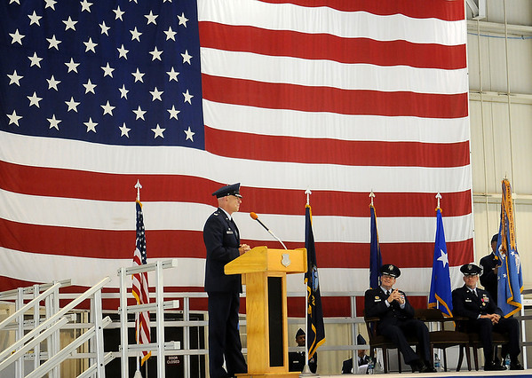 Col. Clark J. Quinn addresses distinguished guests, pilots and student pilots during the 71st Flying Training Wing Change of Command at Vance Air Force Base Wednesday, June 18, 2014. Col. Quinn assumed command after an outstanding 24-month tenure by Col. Darren V. James. (Staff Photo by BONNIE VCULEK)